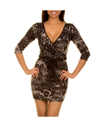 Brown Black V Neck Animal Print Wrap Dress Size Small