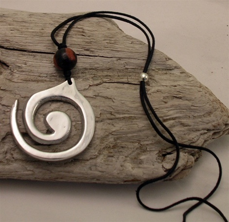 Recycled Soda Can Spiral Necklace~Earth~Handcrafted