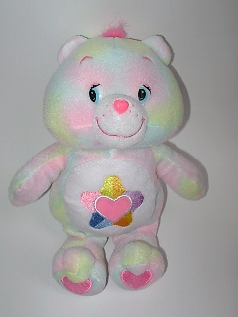 Care Bears True Heart Pastel Tie Dye Plush Heart Star Tummy Symbol