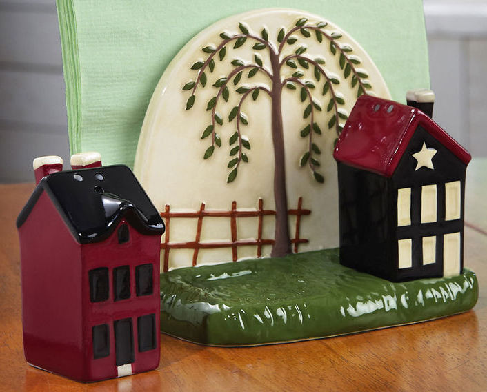 Country Napkin Holder & Salt And Pepper Shaker Set