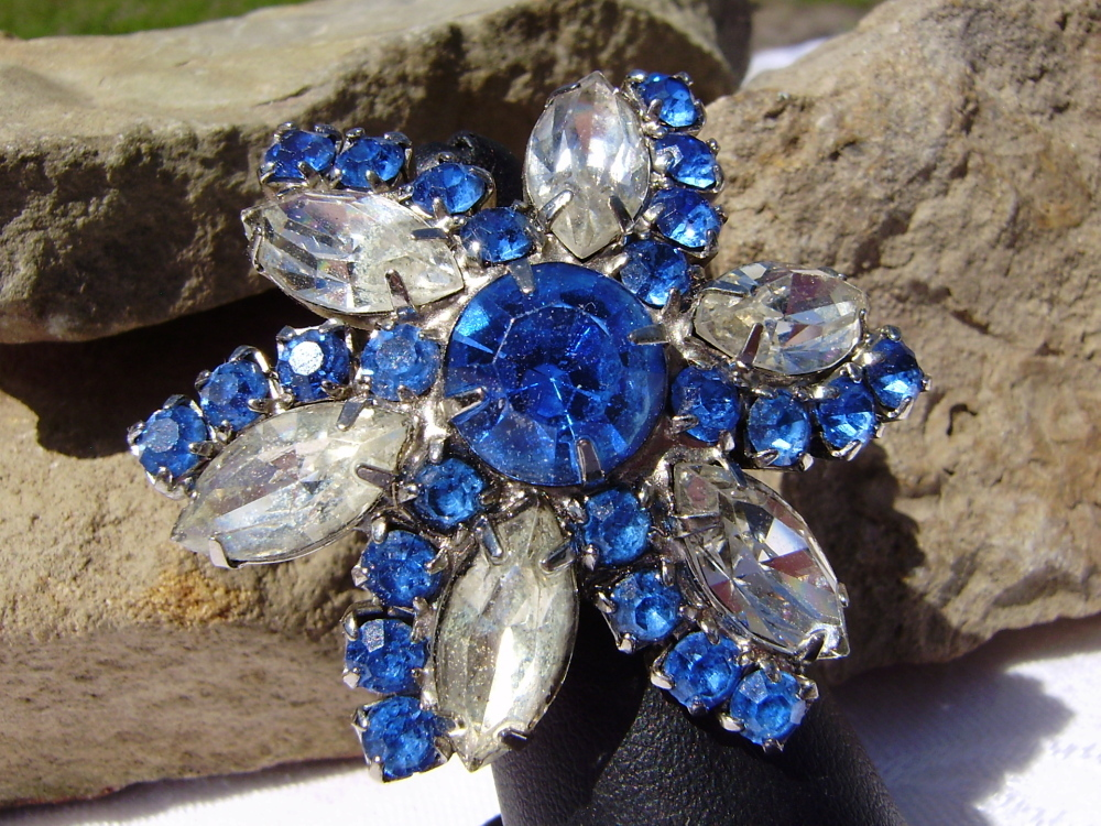 Hand Crafted Round Sapphire Crystal Marque Cut Rhinestone Adjustable Ring