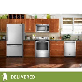 Buy stainless steel appliances. - Maytag Electric 4 pc Appliances,Refrigerator,Dishwasher,Microwave,Range, New