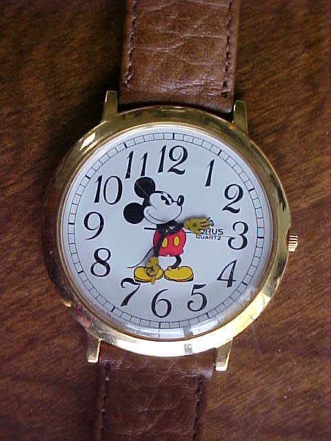 Lorus Mickey Mouse Watch Works New Battery Gold Tone