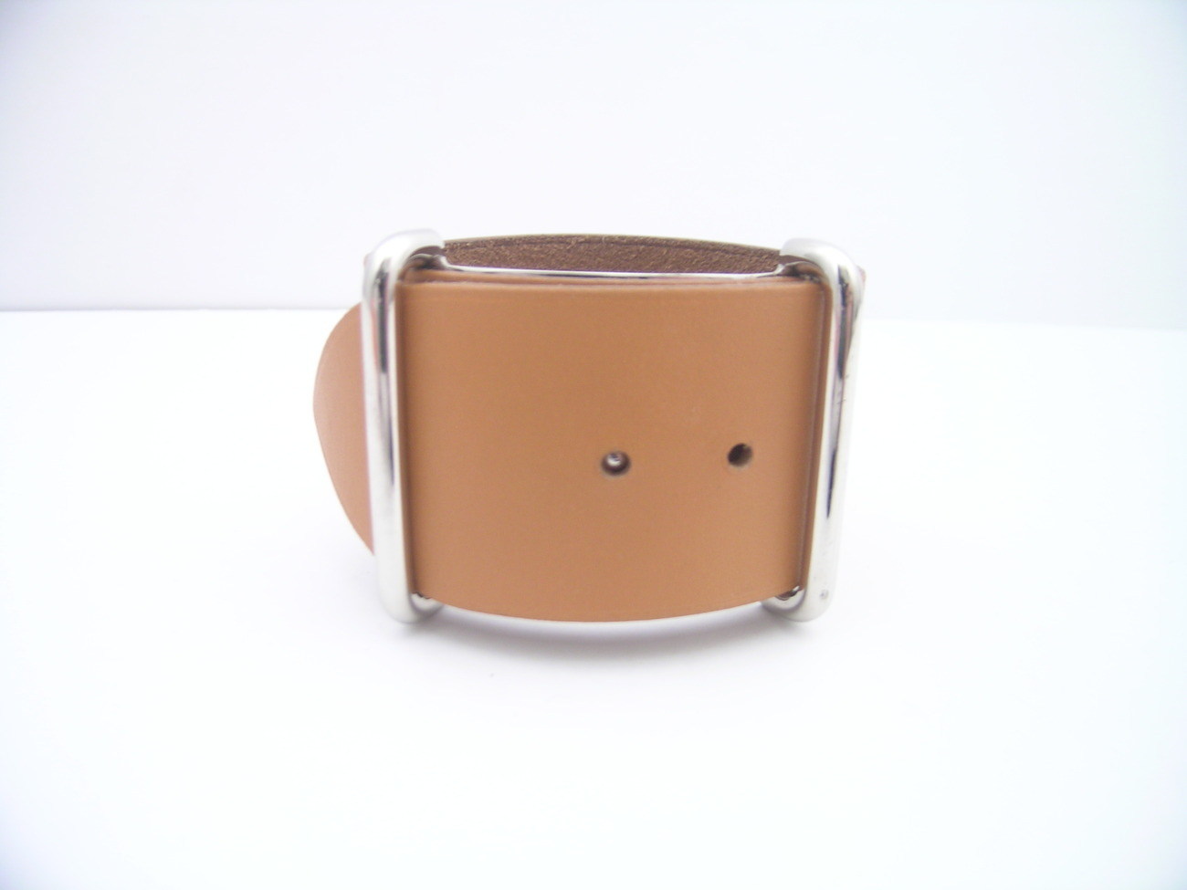 AUTH HERMES CARAMEL ORANGE LEATHER BRACELET CUFF PHW RARE