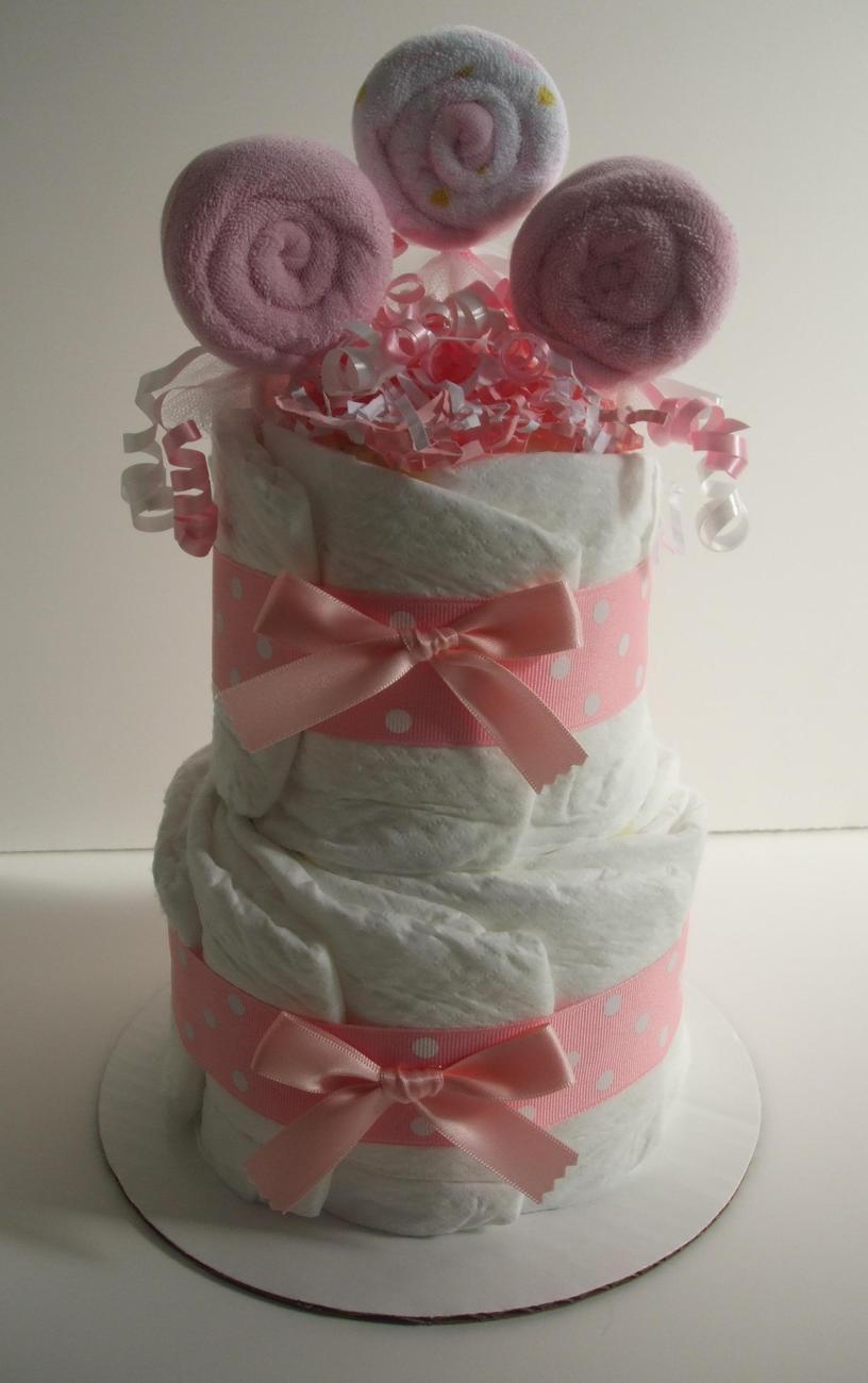 Pin baby cakes and bouquets mini pink lollipop diaper for Pink diaper bouquet