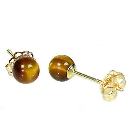 4mm Tigers Eye Ball Studs Post Earrings 14K Yellow Gold