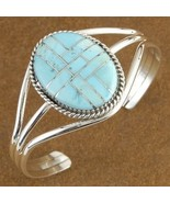 Native American Inlaid Genuine Turquoise Sterli... - $230.17