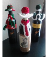 Crochet Christmas Wine Bottle Toppers/Cozies-3 - $11.00