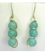 Green Blue Amazonite Globes Sterling Silver Swi... - $53.42