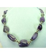 Variegated Purple Tumbled Amethyst Nugget Neckl... - $237.12