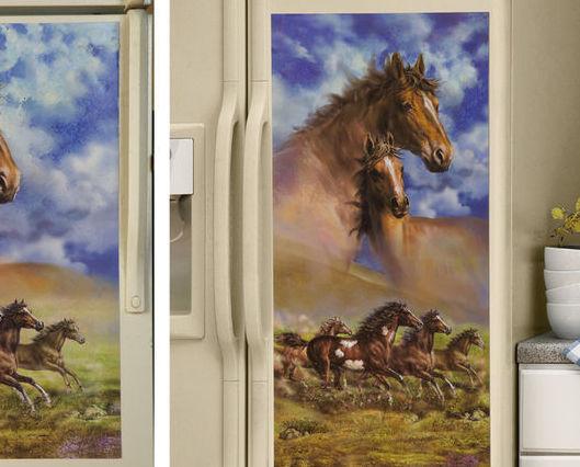 Western Running Horses Kitchen Refrigerator Magnet Side by Side