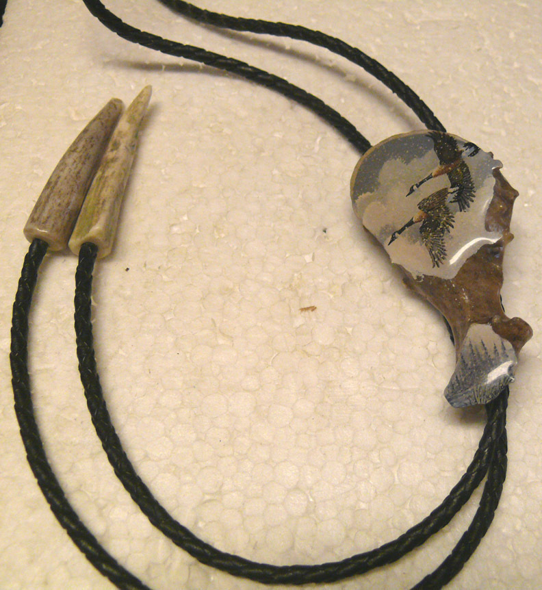 Bolo Tie Leather Braided~Bone Antler~1985 Steven Boyd Signed Collectible