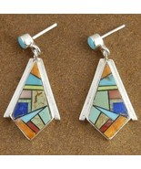 Inlaid Turquoise Mixed Semi Precious Stone Ster... - $172.97