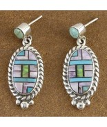 Inlaid Turquoise Mixed Semi Precious Stone Sant... - $216.07