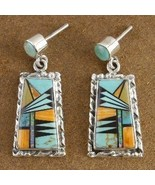 Inlaid Turquoise Mixed Semi Precious Stone Post... - $215.87