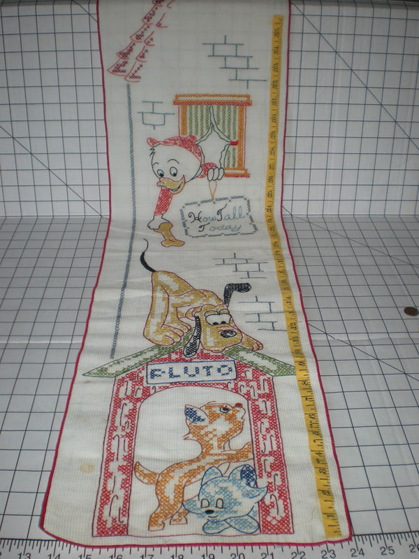 Vintage Disney Growth Chart Cross Stitch Pluto Huey Aristocats Marie Toulouse
