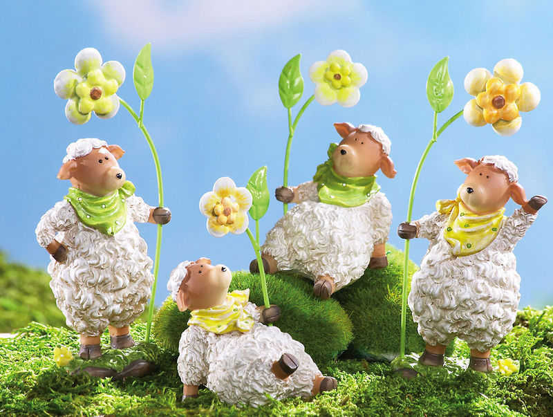 Springtime Lambs In Bandana W/floral Shelf Sitters