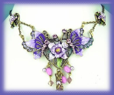 Victorian Purple Pink Floral Necklace Set Darkened Silvertone New