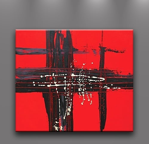 Oil Painting Abstract Modern Art on Canvas Handmade Wall Decor Large Red Black