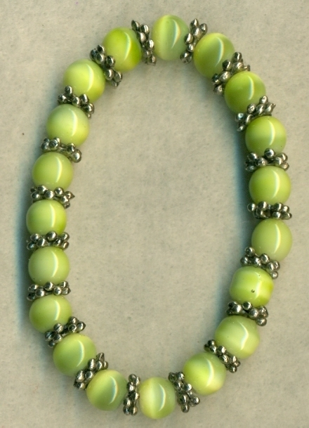 Green Glass Cateye Pewter Elastic Bracelet