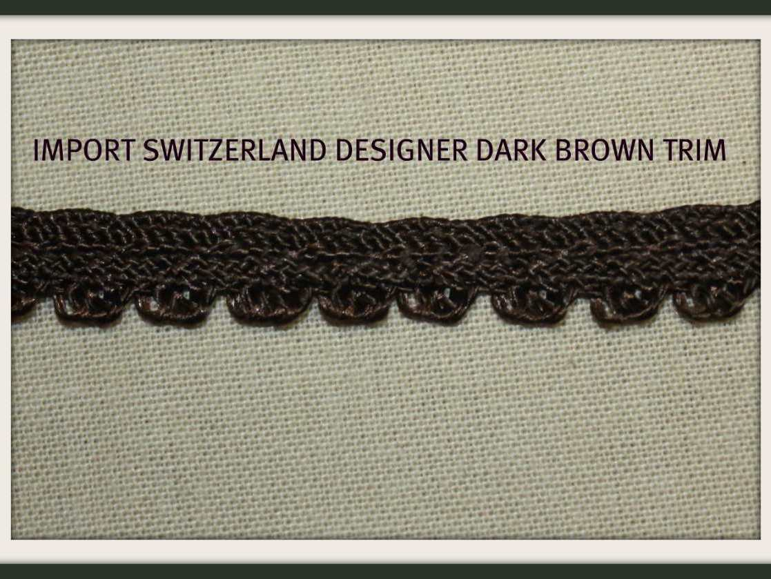 5Y DARK BROWN SCALLOPED GIMP  COTTON TRIM 3/8 IN.IMPORT SWITZERLAND