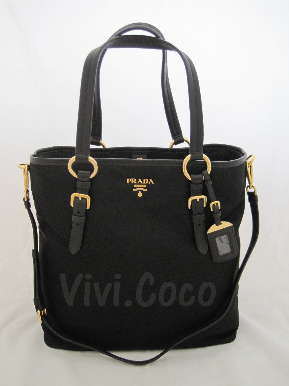 (SOLD OUT) AUTHENTIC PRADA NYLON-LEATHER CLASSIC BLACK TOTE #BR4365