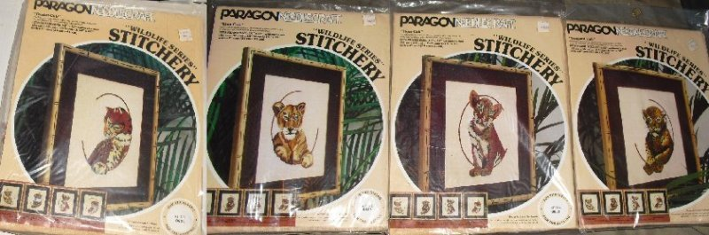 Paragon Stitchery lot 4 Kits Wildlife Cubs LION TIGER +