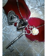 Heart  Lock Pendant Necklace Victoria Style  --... - $16.99