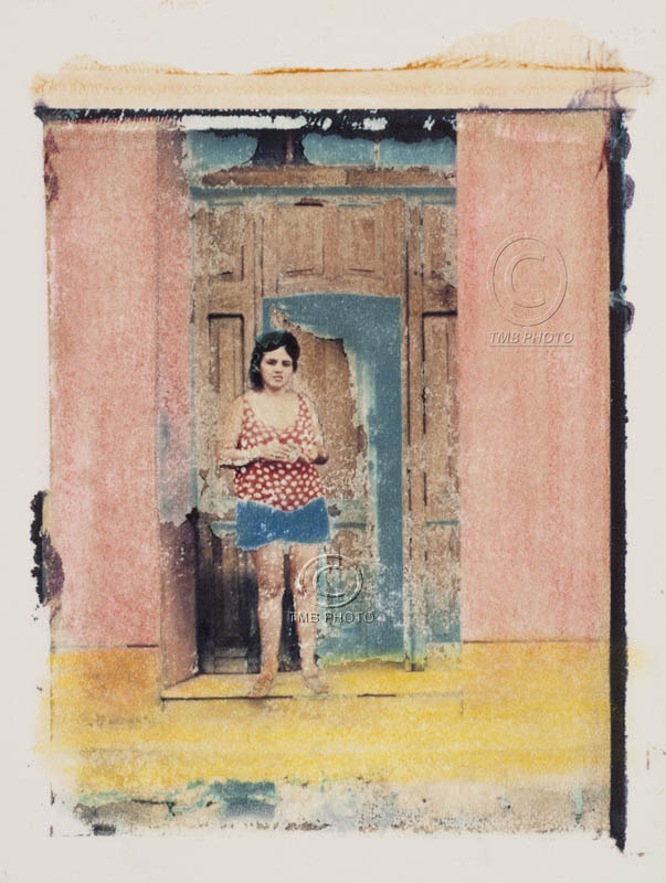 POLAROID IMAGE TRANSFER-ONE OF A KIND-ON FINE ART-MARIA AT HER FRONT STEP, CUBA