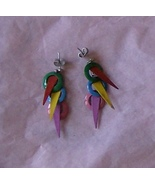 color circles spears enameled silver stud earrings - $15.00