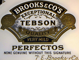Brooks & Co. White Embossed Inner Cigar Label, ... - $2.49
