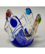 Mardi Gras Fused Glass Candle Cup Tea Light Pap... - $27.00