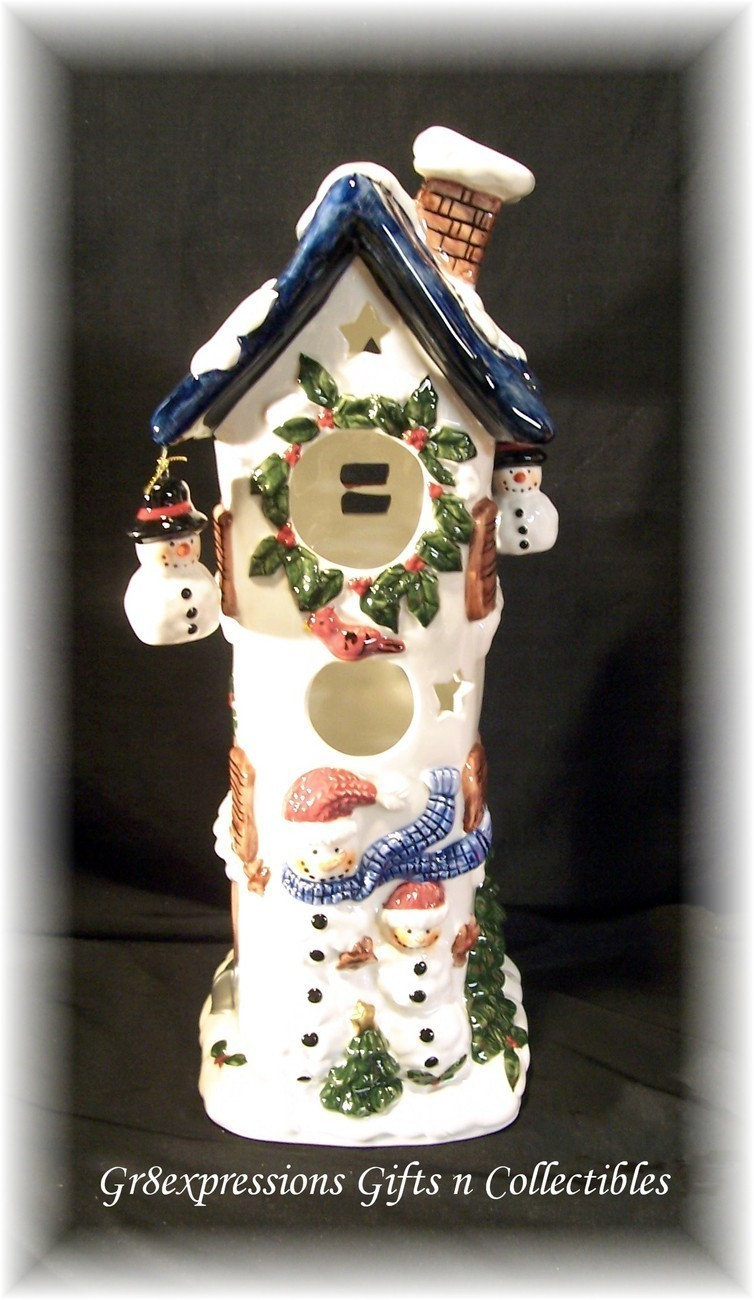 CHRISTMAS COZY LITES 3 STORY SNOWMAN CERAMIC COTTAGE
