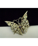Retro Butterfly brooch open back set crystal Rhinestone  huge 1940&#39;s