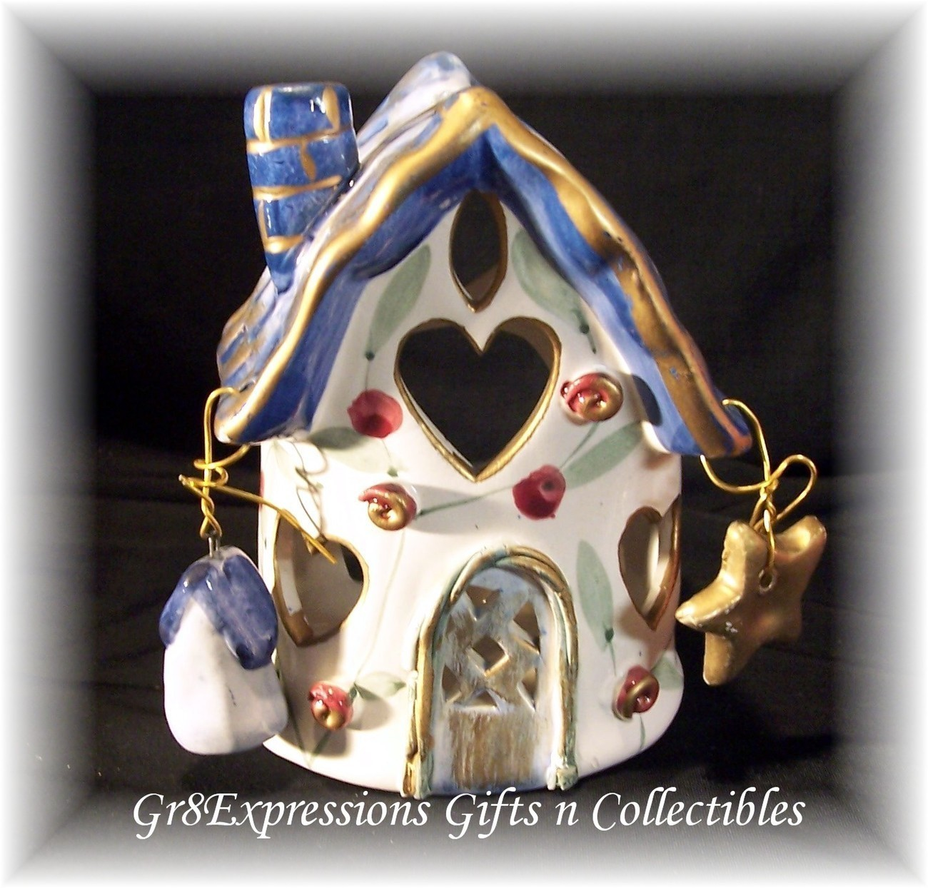 SHABBY ROSE CERAMIC COTTAGE CHRISTMAS CANDLE HOUSE~SML