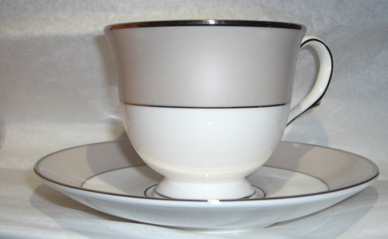 Lenox Federal Platinum Frost Pattern Classics Collection cuo & Saucer China
