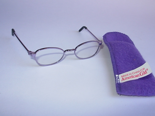 American Girl Metal Wire Eye Glasses with Purple Case