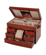 New Large Wood Walnut Jewelry Chest Box Ample S... - $167.83