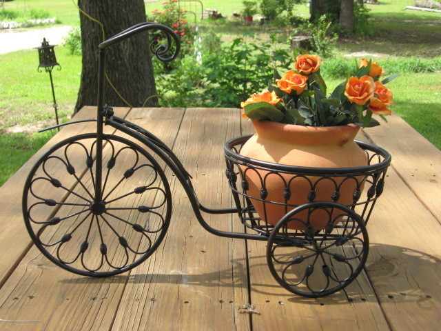 Bicycle Plant Stand Flower Pot Holder Iron Bike Indoor Outdoor