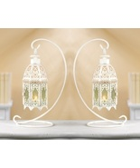 2 White Candle Lanterns with Stands - $23.00
