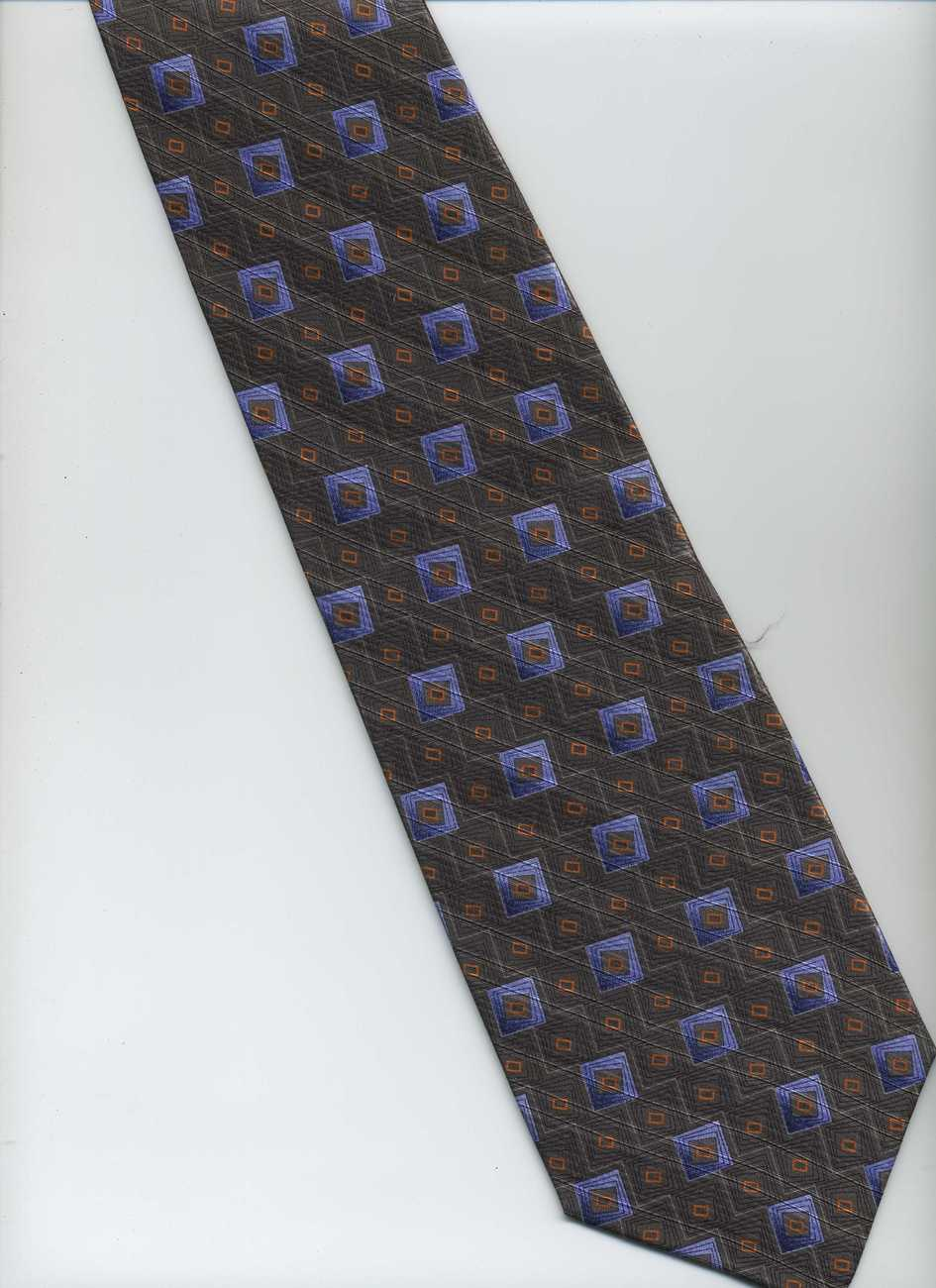 Handmade ZANZARA Tie ~ Gray, Purple, Orange ~ Polka Dots Pattern Silk Tie