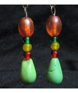 Rhasta Earrings Orange Green Yellow Red - $5.00