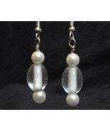 Plain Jane Clear Glass Faux Pearl Earrings - $3.50