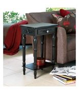 Black Wood  End Table With Drawer and Lower Shelf - $60.00