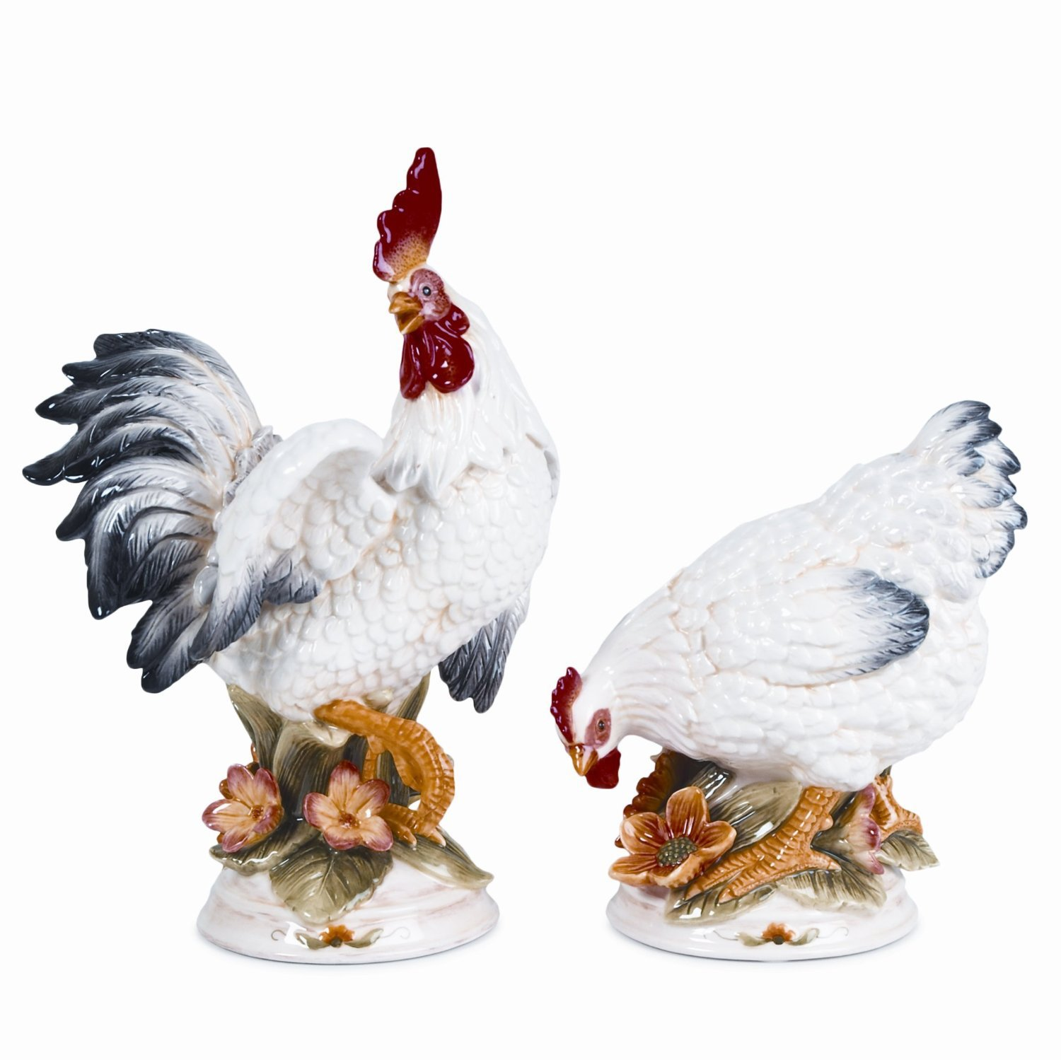 Fitz And Floyd Chanteclair Rooster And Hen Figurines Pair