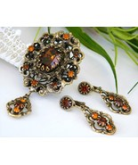 Vintage Hobe Brooch Pendant Earrings Demi Parur... - $74.95