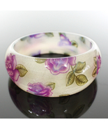 Beige Purple Flower Design Glossy Bangle Bracelet