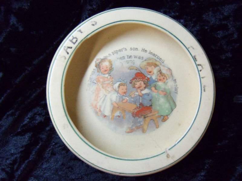 Antique Baby Plate Dish Roseville Piper's Son Vintage