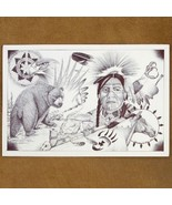 Life Reflections of Navajo Warrior Ink Sketch P... - $49.97
