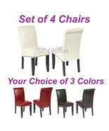 Set of 4 Eco Leather Dining Room Parsons Chairs... - $368.00